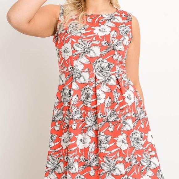 A-Line Floral Plus Size Dress Boutique